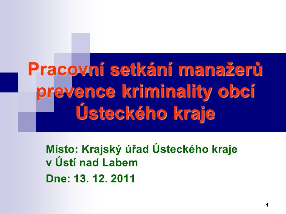 2 Program Prevence kriminality v Ústeckém kraji 2011 krajská úroveň Neinvestiční projekty (krajská úroveň) – 1.
