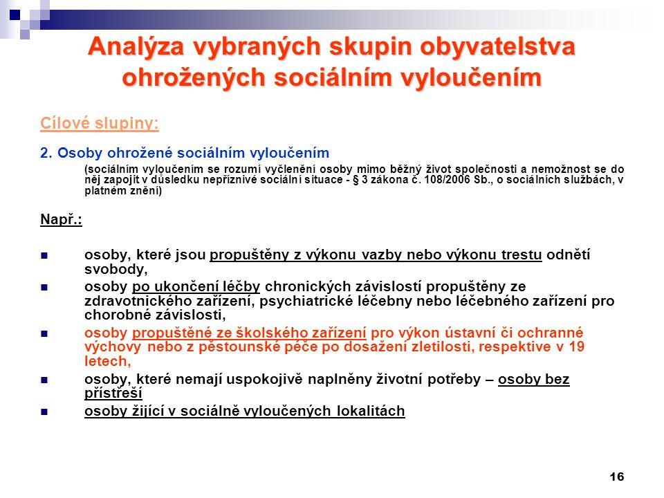 16 Analýza vybraných skupin obyvatelstva ohrožených sociálním vyloučením Cílové slupiny: 2.