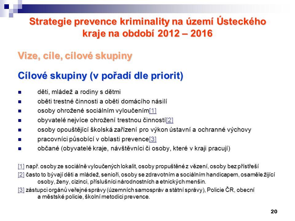 20 Strategie prevence kriminality na území Ústeckého kraje na období 2012 – 2016 Vize, cíle, cílové skupiny Cílové skupiny (v pořadí dle priorit) děti