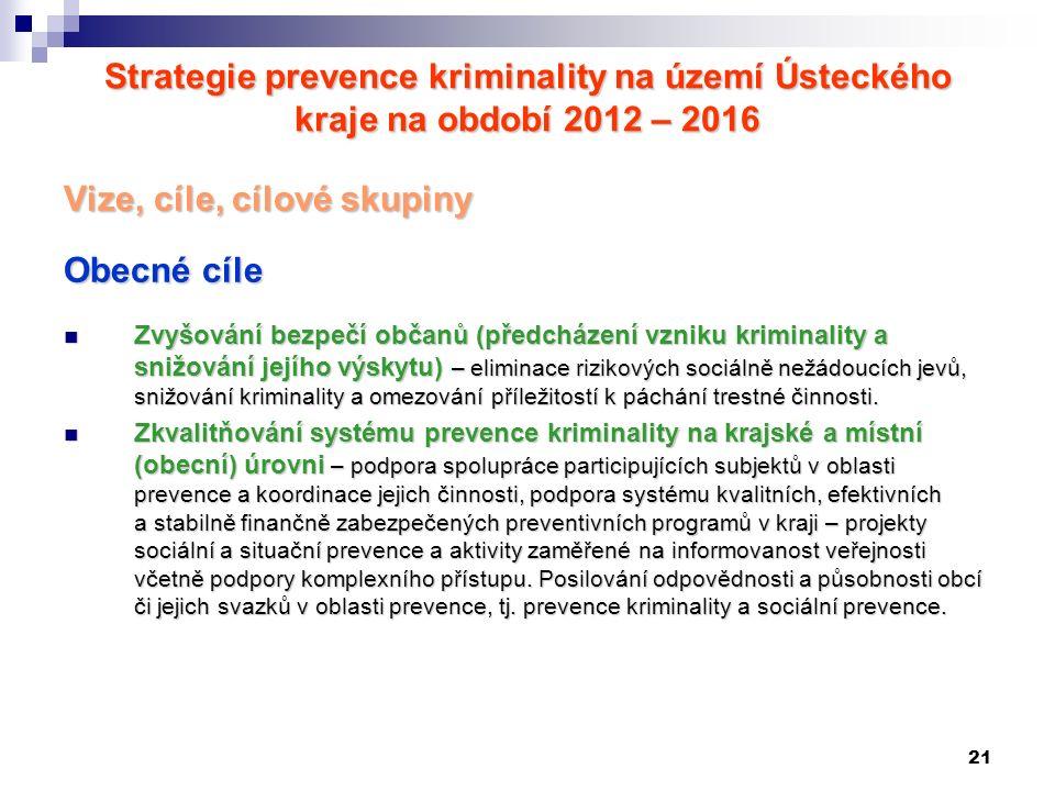 21 Strategie prevence kriminality na území Ústeckého kraje na období 2012 – 2016 Vize, cíle, cílové skupiny Obecné cíle Zvyšování bezpečí občanů (před