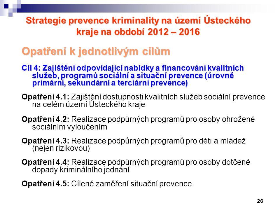 26 Strategie prevence kriminality na území Ústeckého kraje na období 2012 – 2016 Opatření k jednotlivým cílům Cíl 4: Zajištění odpovídající nabídky a financování kvalitních služeb, programů sociální a situační prevence (úrovně primární, sekundární a terciární prevence) Opatření 4.1: Zajištění dostupnosti kvalitních služeb sociální prevence na celém území Ústeckého kraje Opatření 4.2: Realizace podpůrných programů pro osoby ohrožené sociálním vyloučením Opatření 4.3: Realizace podpůrných programů pro děti a mládež (nejen rizikovou) Opatření 4.4: Realizace podpůrných programů pro osoby dotčené dopady kriminálního jednání Opatření 4.5: Cílené zaměření situační prevence