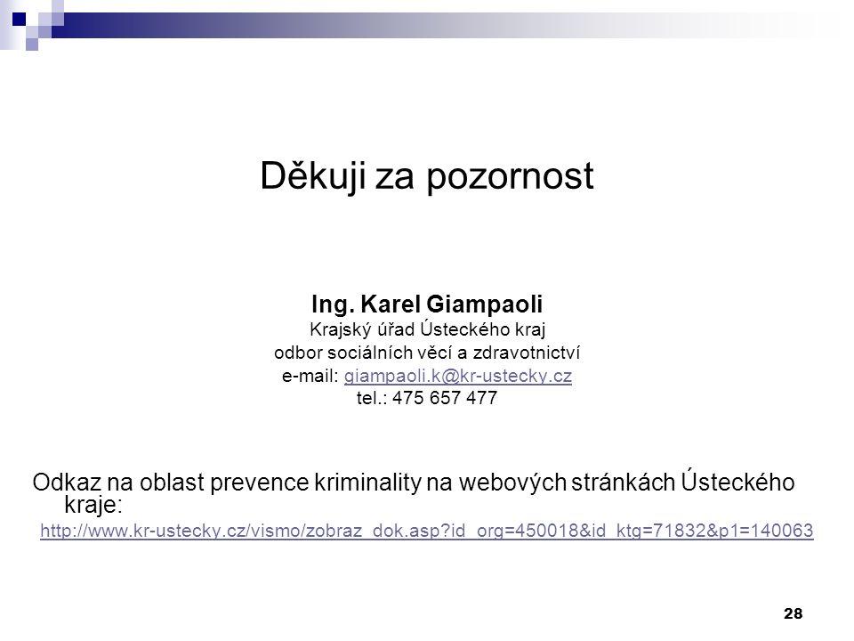 28 Děkuji za pozornost Ing. Karel Giampaoli Krajský úřad Ústeckého kraj odbor sociálních věcí a zdravotnictví e-mail: giampaoli.k@kr-ustecky.cz tel.: