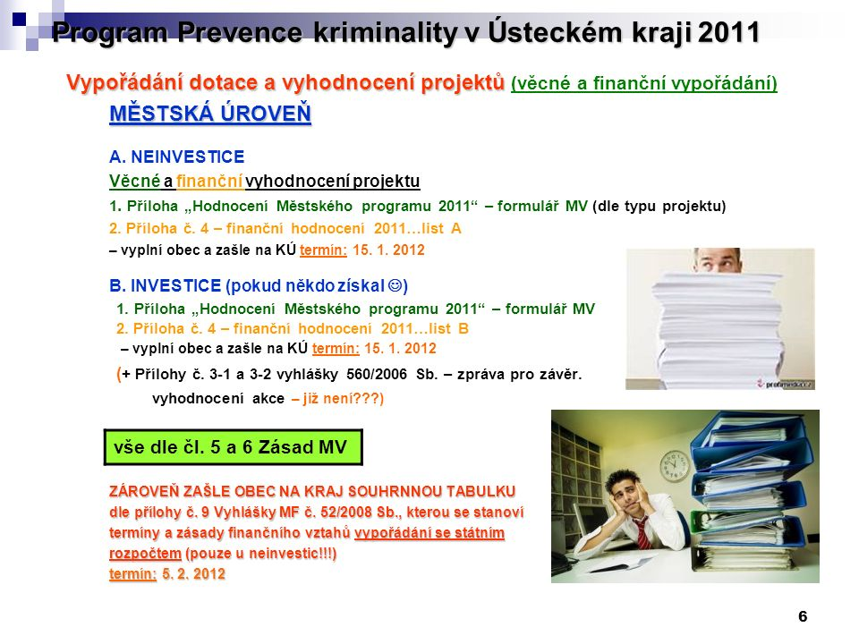 6 Program Prevence kriminality v Ústeckém kraji 2011 Vypořádání dotace a vyhodnocení projektů Vypořádání dotace a vyhodnocení projektů (věcné a finanční vypořádání) MĚSTSKÁ ÚROVEŇ A.