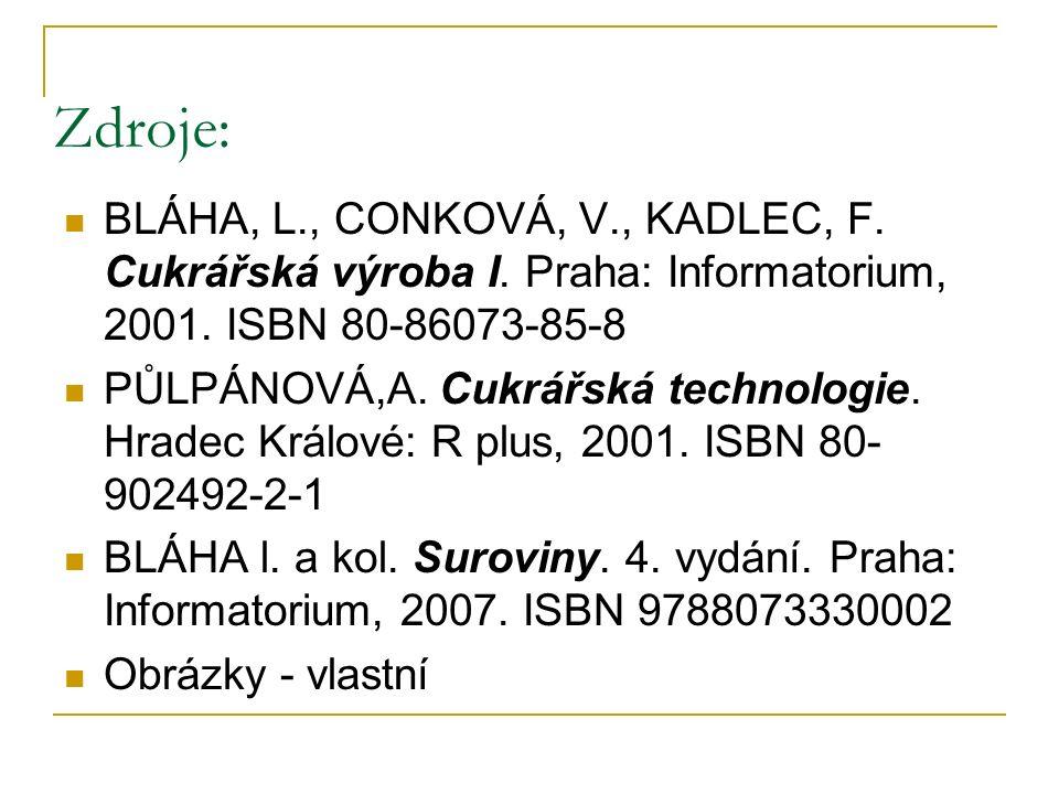 Zdroje: BLÁHA, L., CONKOVÁ, V., KADLEC, F. Cukrářská výroba I. Praha: Informatorium, 2001. ISBN 80-86073-85-8 PŮLPÁNOVÁ,A. Cukrářská technologie. Hrad