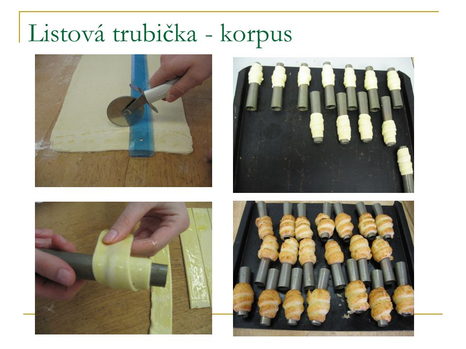 Listové trubičky s bílkovým krémem Trubička je zlatohnědé barvy s bílkovou náplní.