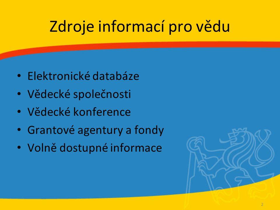 Časopisy a závěrečné práce Časopisy – DOAJ (Directory of Open Access Journals) – www.doaj.org www.doaj.org Diplomové a disertační práce – NDLTD (Networked Digital Library of Theses and Dissertations) www.ndltd.orgwww.ndltd.org – Další viz http://knihovna.cvut.cz/vychova/vychova3/disertace/index.html http://knihovna.cvut.cz/vychova/vychova3/disertace/index.html 13