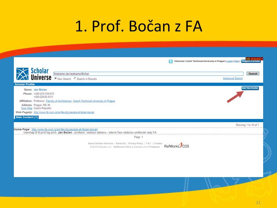 1. Prof. Bočan z FA 21