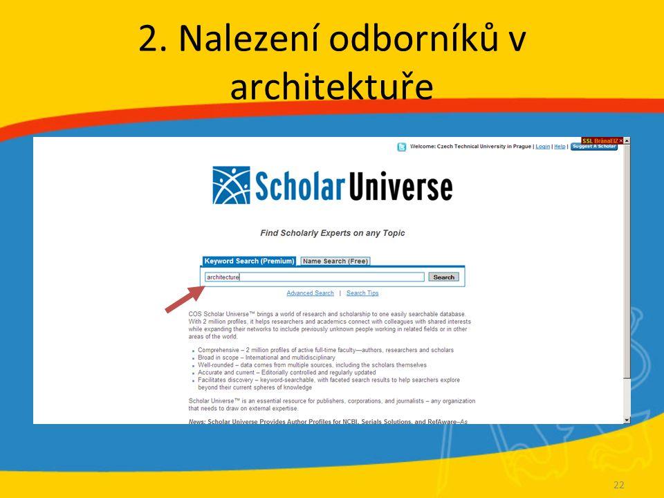 2. Nalezení odborníků v architektuře 22