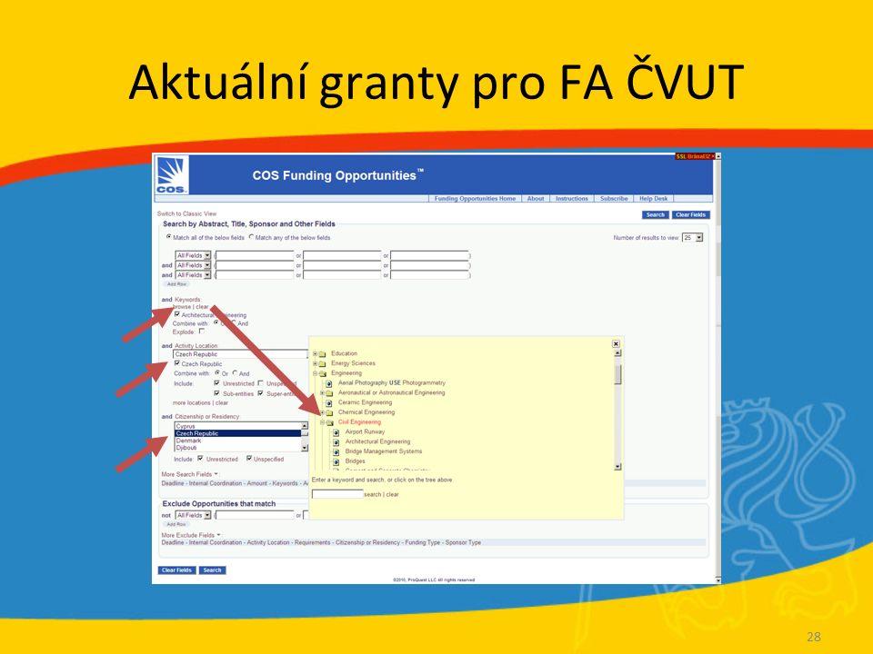 Aktuální granty pro FA ČVUT 28