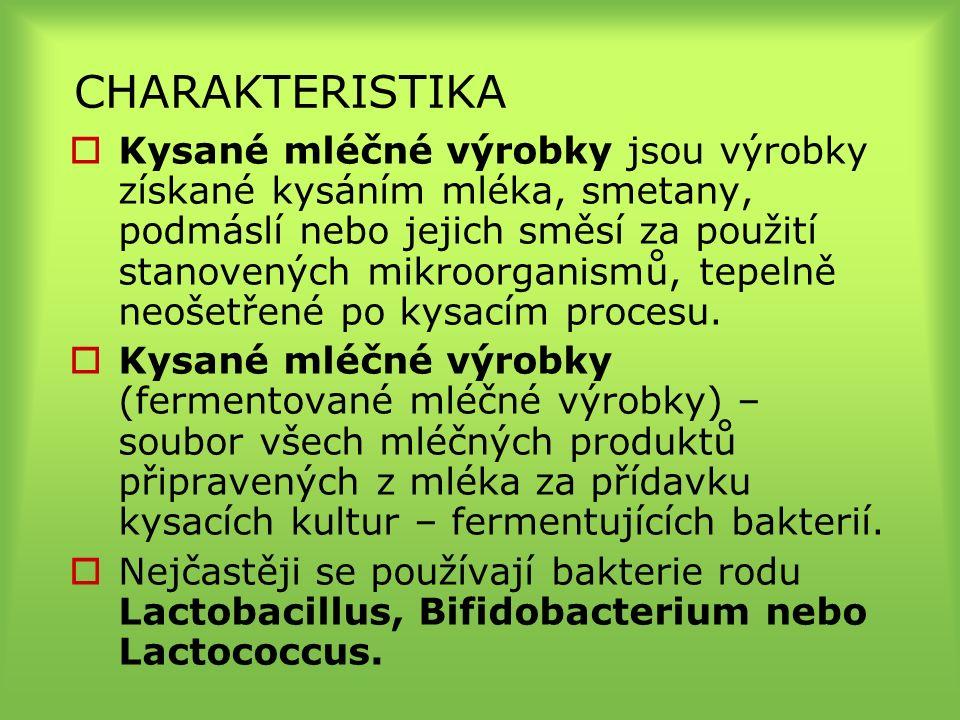 CHARAKTERISTIKA  Kysané mléčné výrobky jsou výrobky získané kysáním mléka, smetany, podmáslí nebo jejich směsí za použití stanovených mikroorganismů, tepelně neošetřené po kysacím procesu.