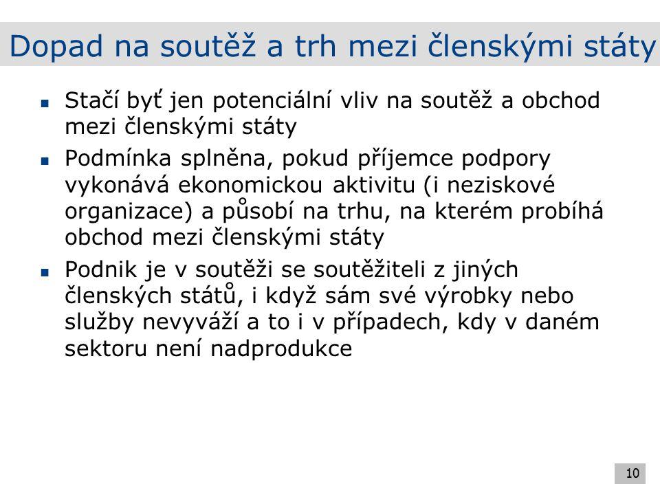 Výjimky ze zákazu veřejné podpory Právní základ čl.