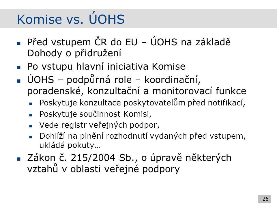 Interim Procedure 27 Smlouva o přistoupení ČR k EU Nové členské státy oznámily Komisi opatření, která měla být zahrnuta pod existující veřejnou podporu (odpovědnost státu zda nahlásil) Interim procedure - přezkum nahlášených opatření Komisí (zda splňují podmínky podle přístupové smlouvy – still applicable) Seznam existující veřejné podpory: http://ec.europa.eu/comm/competition/state_aid/register/a nnex4_3.pdf http://ec.europa.eu/comm/competition/state_aid/register/a nnex4_3.pdf Zemědělství a doprava – zvláštní pravidla