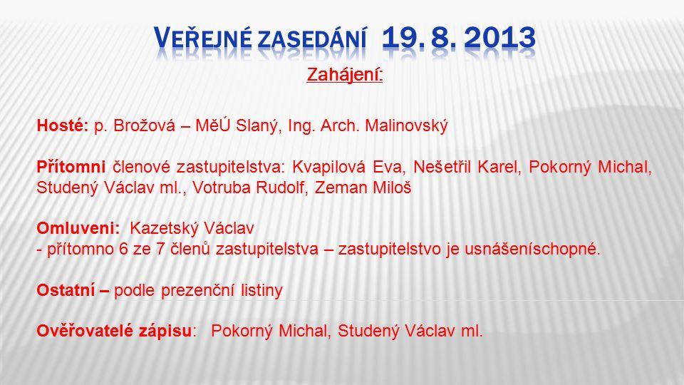 Zahájení: Hosté: p. Brožová – MěÚ Slaný, Ing. Arch.