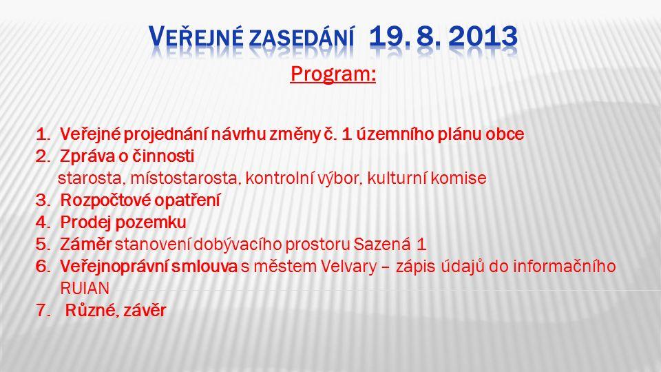 Program: 1.Veřejné projednání návrhu změny č.