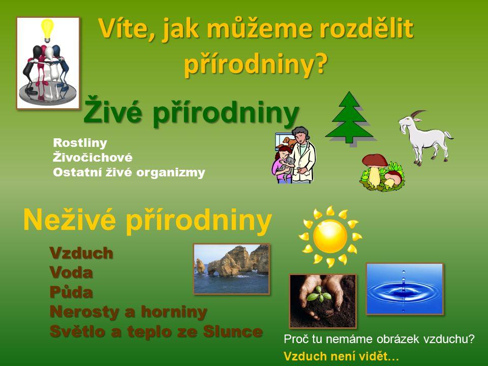 Víte, jak můžeme rozdělit přírodniny? Živé přírodniny Neživé přírodniny VzduchVodaPůda Nerosty a horniny Světlo a teplo ze Slunce Rostliny Živočichové