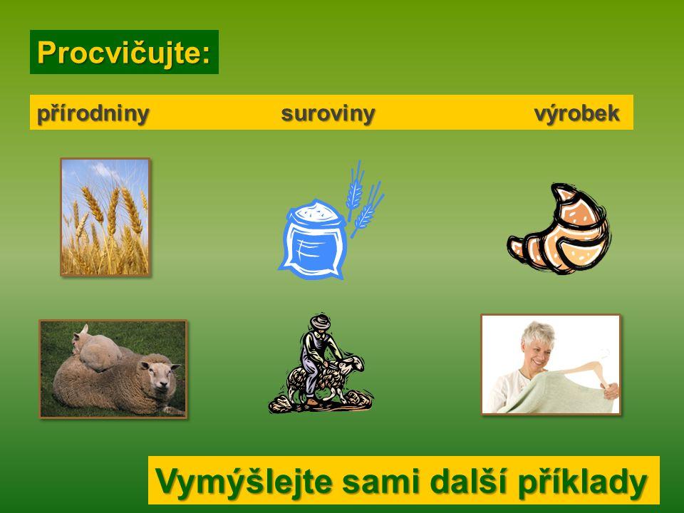 Roztřiďte po řadě zleva doprava): Roztřiďte po řadě zleva doprava): přírodniny suroviny výrobek