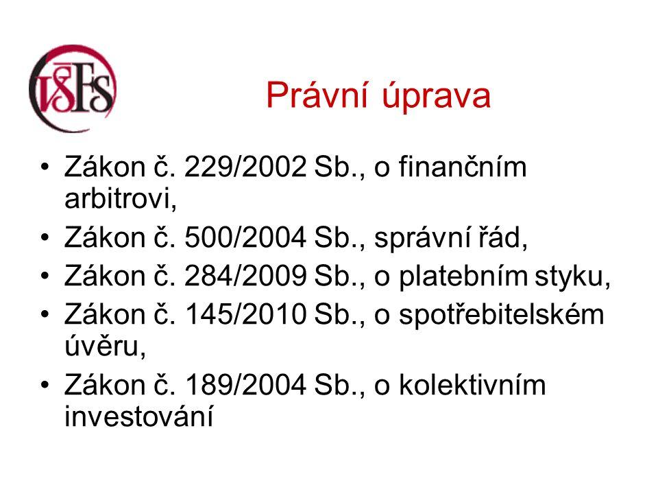 Právní úprava Zákon č. 229/2002 Sb., o finančním arbitrovi, Zákon č.