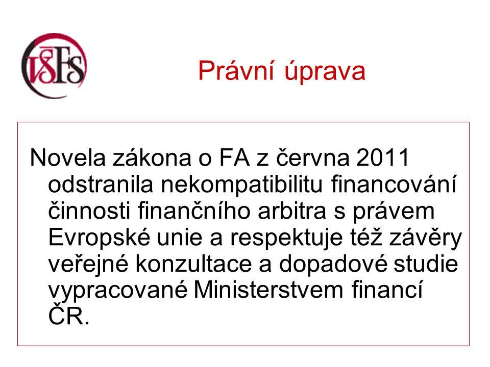 Právní úprava Novela zákona o FA z června 2011 odstranila nekompatibilitu financování činnosti finančního arbitra s právem Evropské unie a respektuje též závěry veřejné konzultace a dopadové studie vypracované Ministerstvem financí ČR.