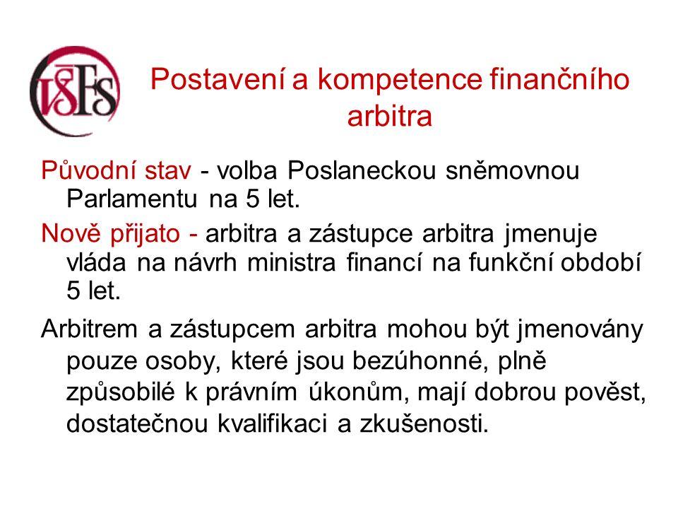 Postavení a kompetence finančního arbitra Původní stav - volba Poslaneckou sněmovnou Parlamentu na 5 let.