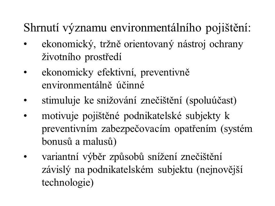 Shrnutí významu environmentálního pojištění: ekonomický, tržně orientovaný nástroj ochrany životního prostředí ekonomicky efektivní, preventivně envir