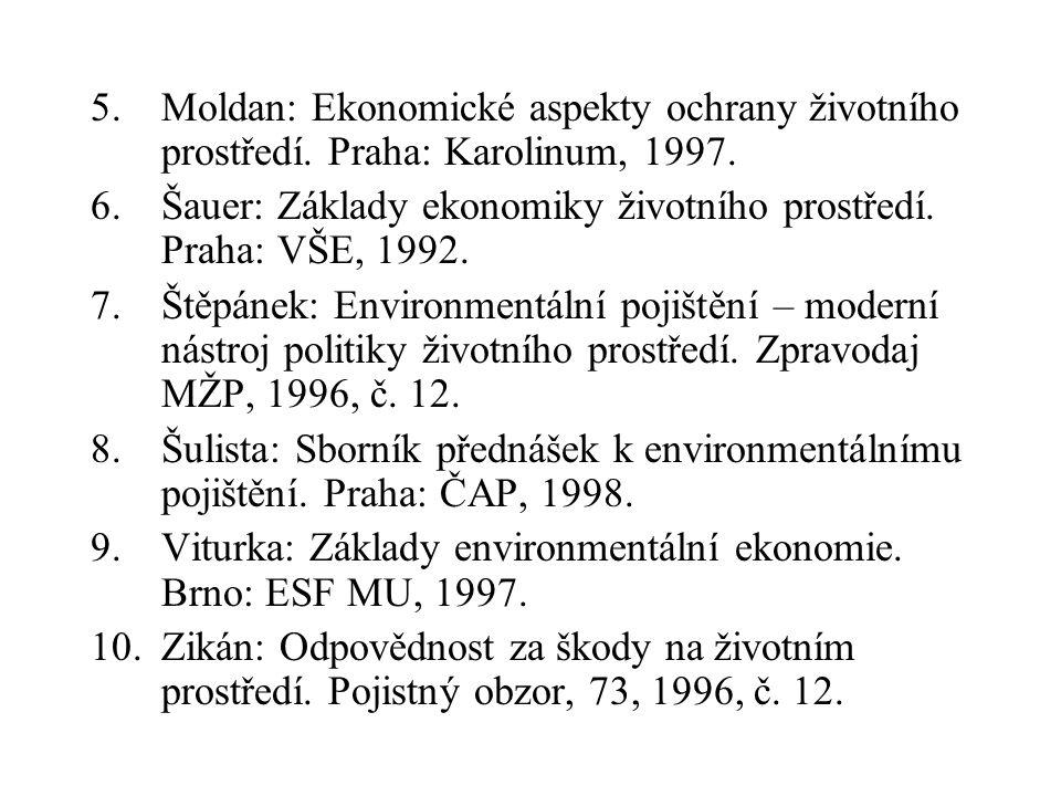 5. Moldan: Ekonomické aspekty ochrany životního prostředí. Praha: Karolinum, 1997. 6.Šauer: Základy ekonomiky životního prostředí. Praha: VŠE, 1992. 7