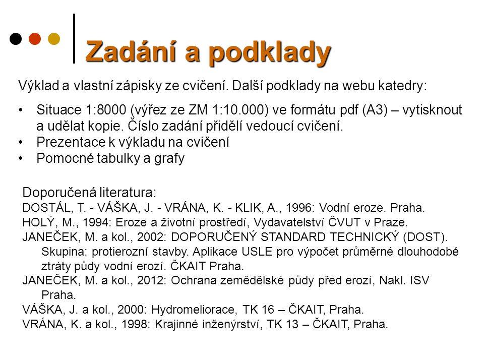Výklad a vlastní zápisky ze cvičení. Další podklady na webu katedry: Situace 1:8000 (výřez ze ZM 1:10.000) ve formátu pdf (A3) – vytisknout a udělat k