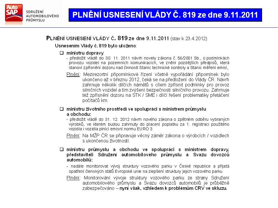 PLNĚNÍ USNESENÍ VLÁDY Č. 819 ze dne 9.11.2011