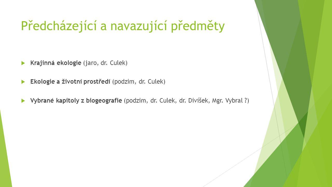 Předcházející a navazující předměty  Krajinná ekologie (jaro, dr. Culek)  Ekologie a životní prostředí (podzim, dr. Culek)  Vybrané kapitoly z biog