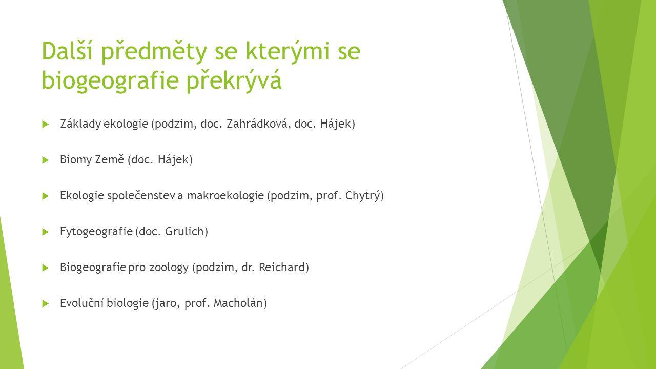 Další předměty se kterými se biogeografie překrývá  Základy ekologie (podzim, doc. Zahrádková, doc. Hájek)  Biomy Země (doc. Hájek)  Ekologie spole