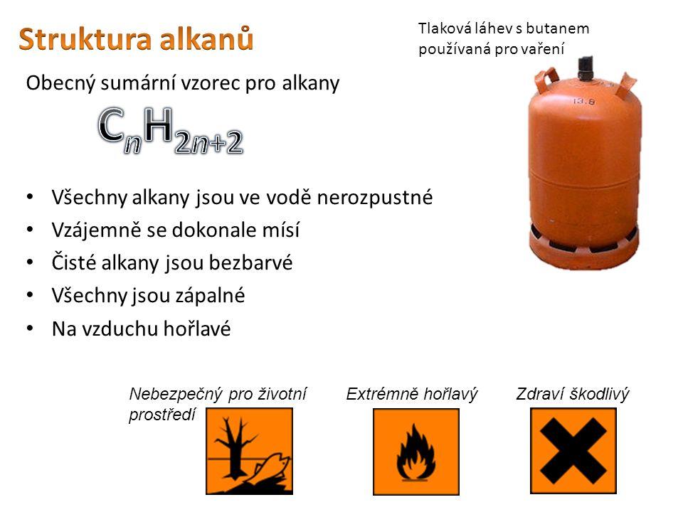Obecný sumární vzorec pro alkany Všechny alkany jsou ve vodě nerozpustné Vzájemně se dokonale mísí Čisté alkany jsou bezbarvé Všechny jsou zápalné Na vzduchu hořlavé Tlaková láhev s butanem používaná pro vaření Extrémně hořlavýZdraví škodlivý Nebezpečný pro životní prostředí