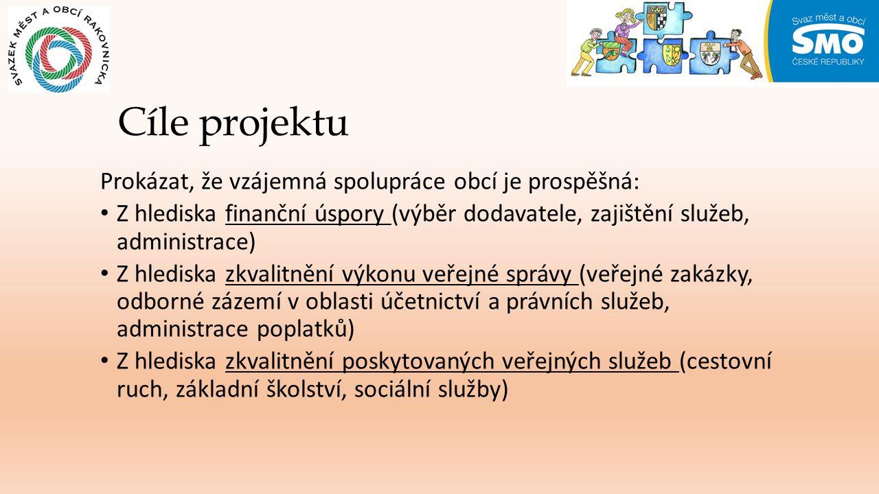Cíle projektu Prokázat, že vzájemná spolupráce obcí je prospěšná: Z hlediska finanční úspory (výběr dodavatele, zajištění služeb, administrace) Z hlediska zkvalitnění výkonu veřejné správy (veřejné zakázky, odborné zázemí v oblasti účetnictví a právních služeb, administrace poplatků) Z hlediska zkvalitnění poskytovaných veřejných služeb (cestovní ruch, základní školství, sociální služby)