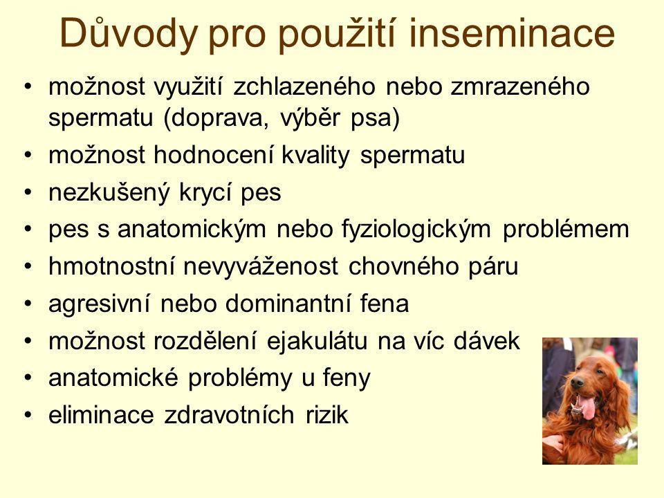 Důvody pro použití inseminace možnost využití zchlazeného nebo zmrazeného spermatu (doprava, výběr psa) možnost hodnocení kvality spermatu nezkušený k