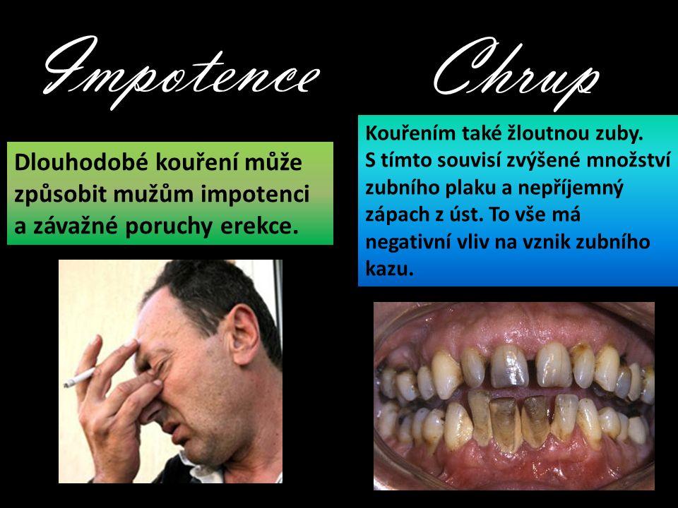 Impotence Dlouhodobé kouření může způsobit mužům impotenci a závažné poruchy erekce.