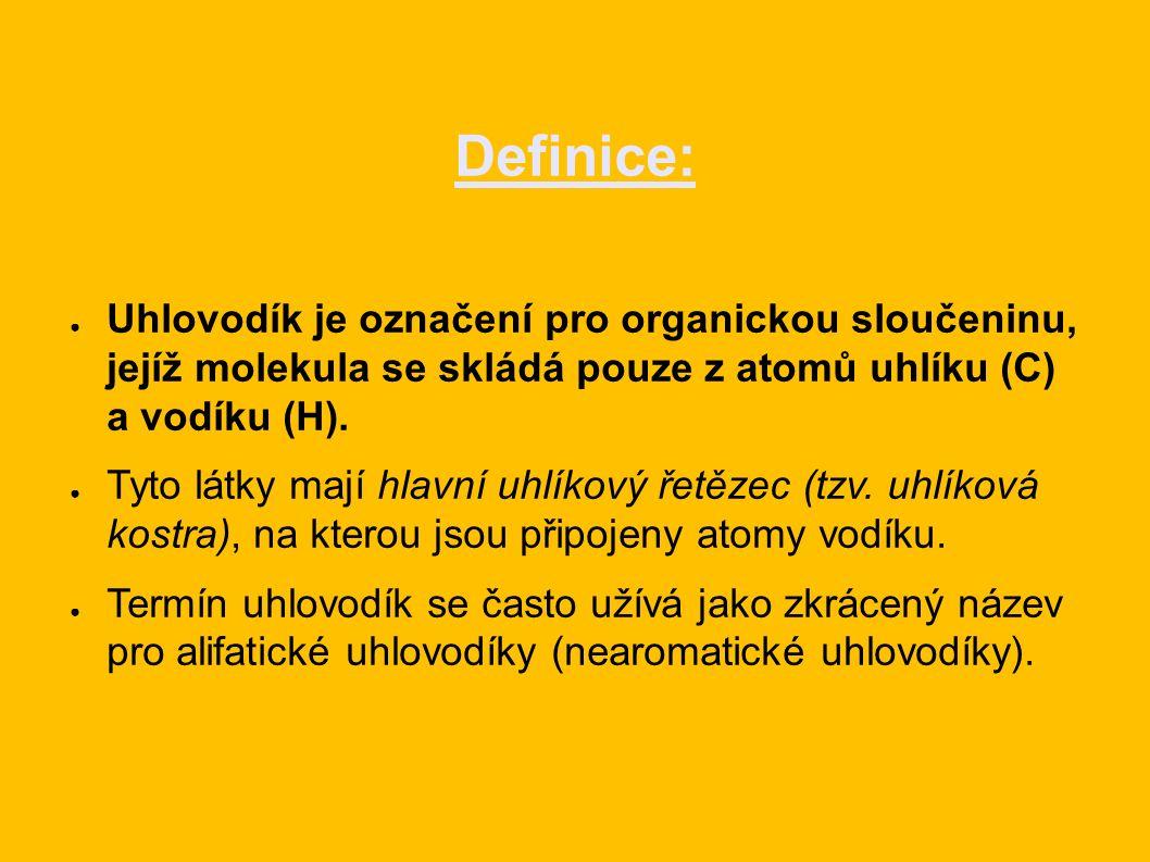 Definice: ● Uhlovodík je označení pro organickou sloučeninu, jejíž molekula se skládá pouze z atomů uhlíku (C) a vodíku (H).