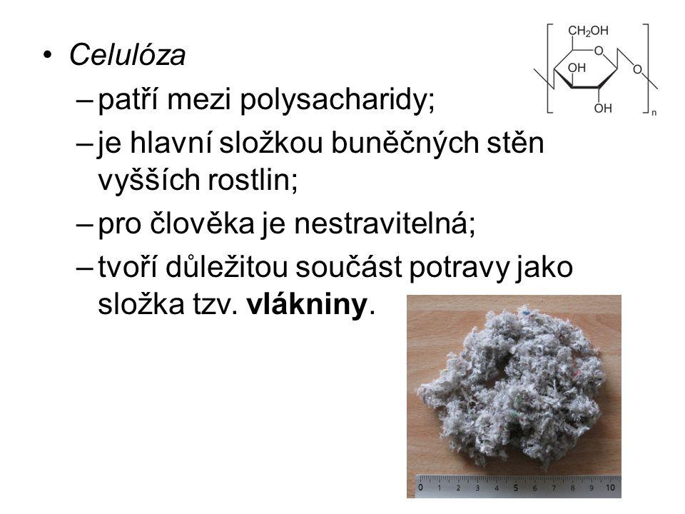 Celulóza –patří mezi polysacharidy; –je hlavní složkou buněčných stěn vyšších rostlin; –pro člověka je nestravitelná; –tvoří důležitou součást potravy
