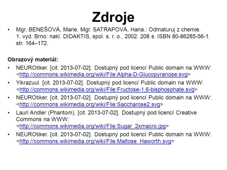 Mgr. BENEŠOVÁ, Marie. Mgr. SATRAPOVÁ, Hana.: Odmaturuj z chemie. 1. vyd. Brno: nakl. DIDAKTIS, spol. s. r. o., 2002. 208 s. ISBN 80-86285-56-1. str. 1