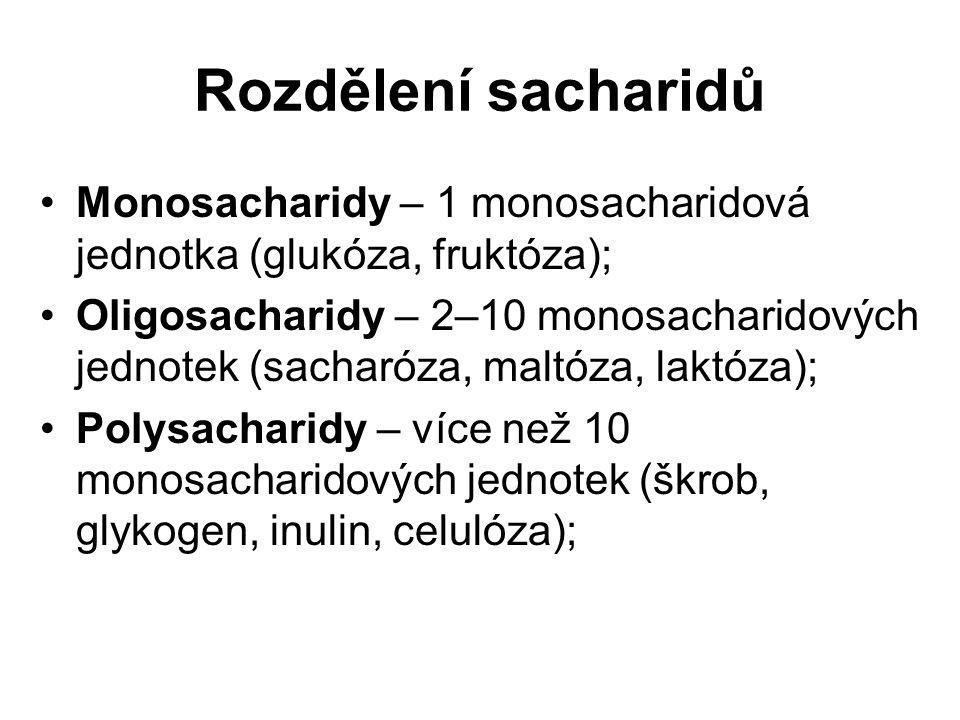 Monosacharidy – 1 monosacharidová jednotka (glukóza, fruktóza); Oligosacharidy – 2–10 monosacharidových jednotek (sacharóza, maltóza, laktóza); Polysa