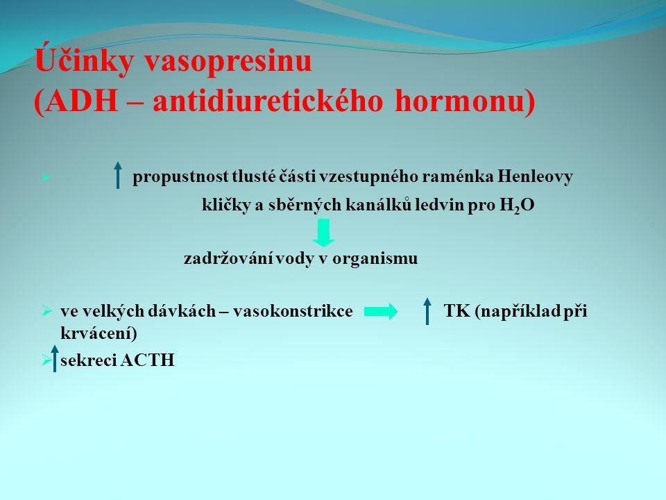Účinky vasopresinu (ADH – antidiuretického hormonu)  propustnost tlusté části vzestupného raménka Henleovy kličky a sběrných kanálků ledvin pro H 2 O zadržování vody v organismu  ve velkých dávkách – vasokonstrikce TK (například při krvácení)  sekreci ACTH