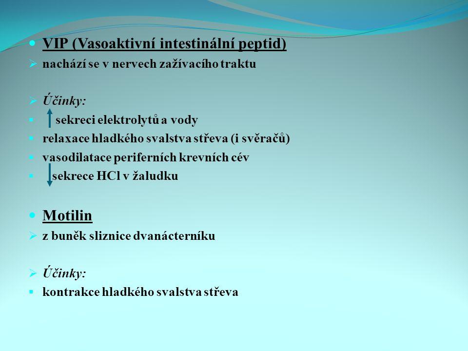 VIP (Vasoaktivní intestinální peptid)  nachází se v nervech zažívacího traktu  Účinky:  sekreci elektrolytů a vody  relaxace hladkého svalstva střeva (i svěračů)  vasodilatace periferních krevních cév  sekrece HCl v žaludku Motilin  z buněk sliznice dvanácterníku  Účinky:  kontrakce hladkého svalstva střeva