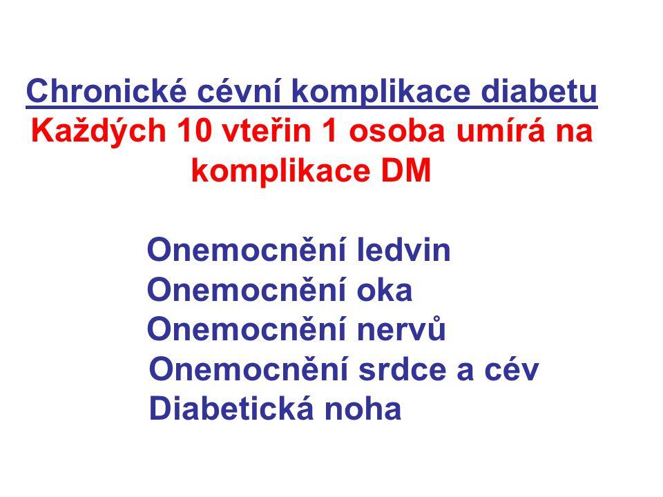 Chronické cévní komplikace diabetu Každých 10 vteřin 1 osoba umírá na komplikace DM Onemocnění ledvin Onemocnění oka Onemocnění nervů Onemocnění srdce a cév Diabetická noha