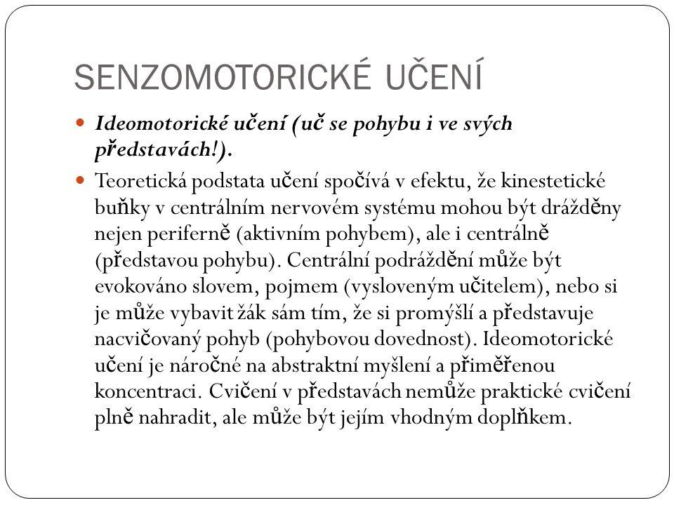 SENZOMOTORICKÉ UČENÍ Ideomotorické u č ení (u č se pohybu i ve svých p ř edstavách!).