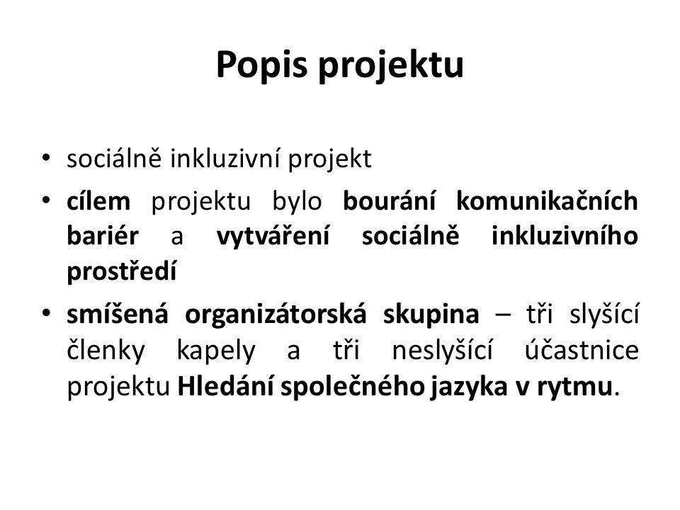 Popis projektu sociálně inkluzivní projekt cílem projektu bylo bourání komunikačních bariér a vytváření sociálně inkluzivního prostředí smíšená organi