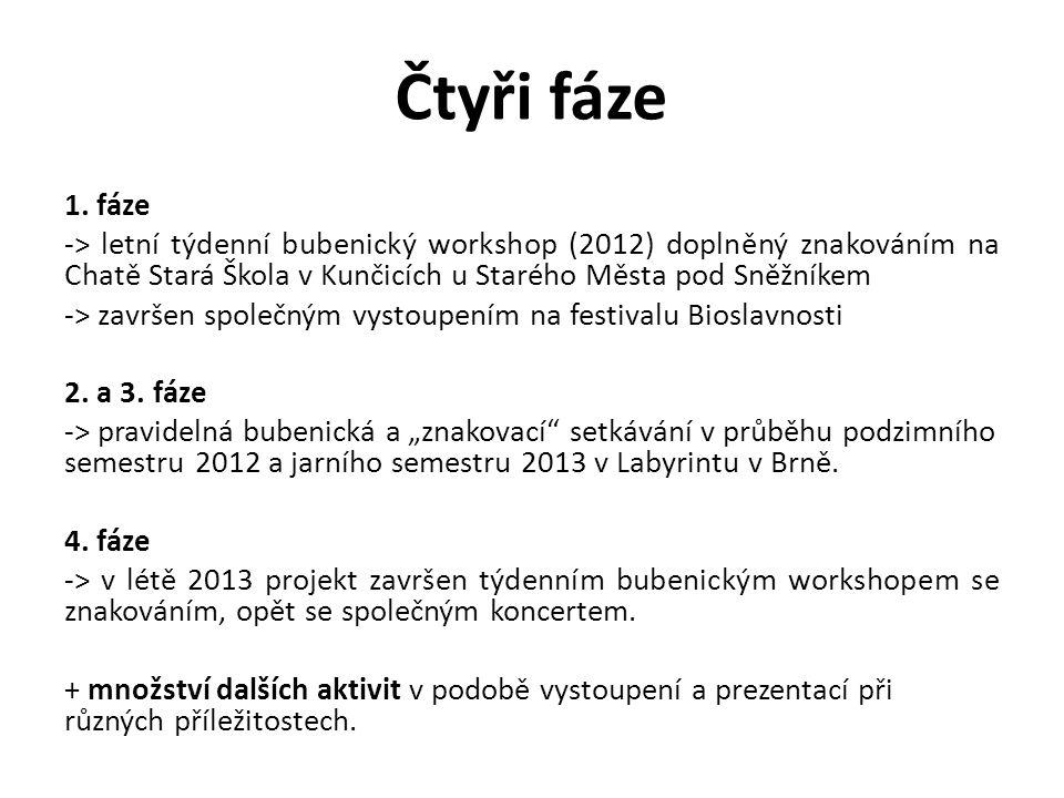1. fáze -> letní týdenní bubenický workshop (2012) doplněný znakováním na Chatě Stará Škola v Kunčicích u Starého Města pod Sněžníkem -> završen spole