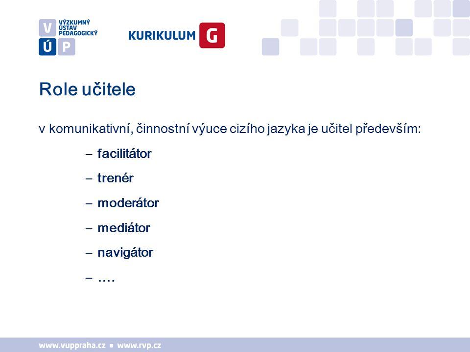 facilitátor (facilitator) - učitel dříve učil cizí jazyk, nyní napomáhá k učení cizímu jazyku, řekl Brumfit již v roce 1981 (Timm 1996, 272) trenér (coach) - žáci potřebují na jedné straně dostatek volnosti pro řešení situací, ale na druhé straně je nutná cílená podpora, pokud dojde k problémům, které nedovedou sami vyřešit (Mandl/Reinmann-Rothmeier 1996, 44) moderátor (moderator) – vyučující se stávají moderátory, kteří žákům při otevřeném učení pomáhají a spolupracují s nimi (Rüschoff 1996, online) mediátor (mediator) - vyučující pomáhají žákům, aby se naučili učit se, aby uměli vyhledávat potřebné informace, analyzovat je a vyhodnocovat a multimédia také vytvářet (van Lück 1996, 7) navigátor (navigator) - učitel ukazuje, kam mají žáci dojít, a radí, jak ….