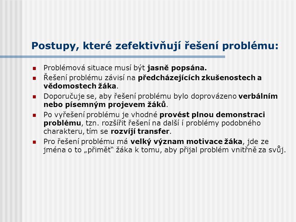 Pojmové učení a řešení problému: Fáze řešení problému: 1. Seznámení s problémem. 2. Rozbor problému (sbírání a třídění informací) – stanovení hypotézy