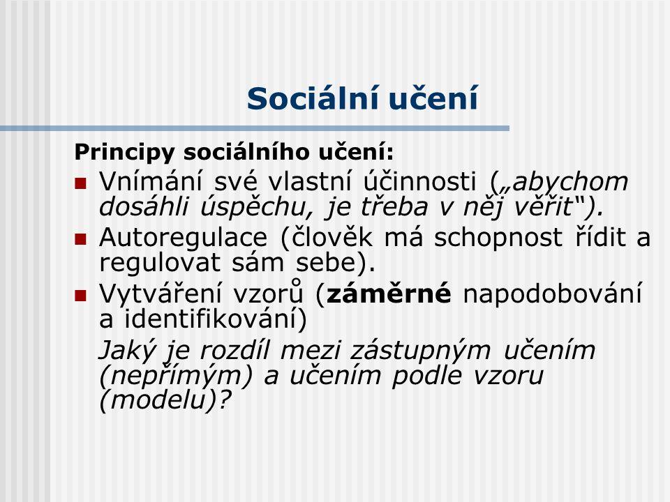 Sociální učení Principy sociálního učení: Vzájemný vliv činitelů (sociokulturních faktorů, osobnostních rysů a vzorců chování). Nepřímé (zástupné) uče