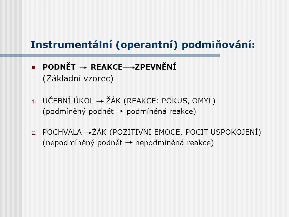 Instrumentální (operantní) podmiňování: PODNĚT REAKCE ZPEVNĚNÍ (Základní vzorec) 1. PÁČKA HOLUB (REAKCE: POKUS, OMYL) (podmíněný podnět podmíněná reak