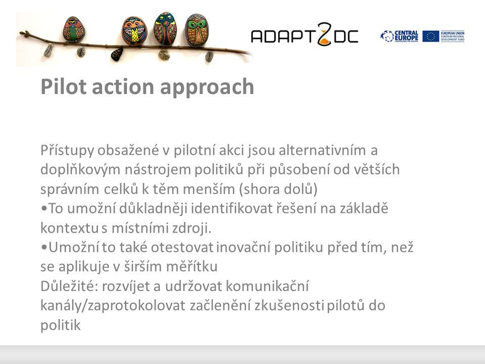 Pilot action approach Přístupy obsažené v pilotní akci jsou alternativním a doplňkovým nástrojem politiků při působení od větších správním celků k těm menším (shora dolů) To umožní důkladněji identifikovat řešení na základě kontextu s místními zdroji.