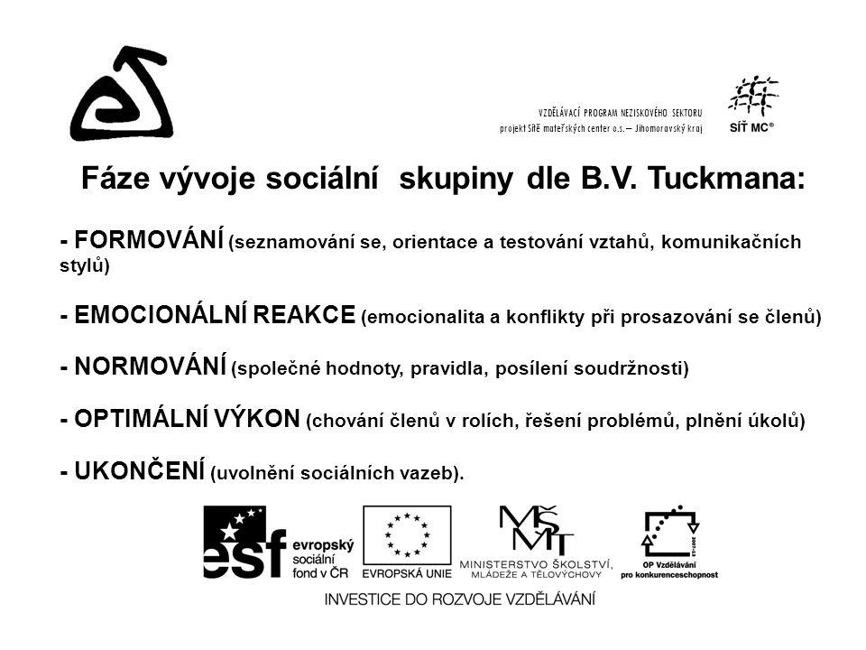 Fáze vývoje sociální skupiny dle B.V. Tuckmana: - FORMOVÁNÍ (seznamování se, orientace a testování vztahů, komunikačních stylů) - EMOCIONÁLNÍ REAKCE (