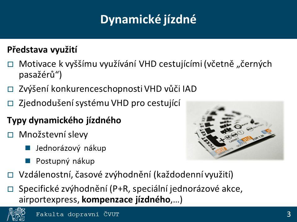 """3 Fakulta dopravní ČVUT Dynamické jízdné Představa využití  Motivace k vyššímu využívání VHD cestujícími (včetně """"černých pasažérů )  Zvýšení konkurenceschopnosti VHD vůči IAD  Zjednodušení systému VHD pro cestující Typy dynamického jízdného  Množstevní slevy Jednorázový nákup Postupný nákup  Vzdálenostní, časové zvýhodnění (každodenní využití)  Specifické zvýhodnění (P+R, speciální jednorázové akce, airportexpress, kompenzace jízdného,…)"""
